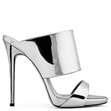f49f824cdcb Image Unavailable. Image not available for. Color  LUCKY ROAD Sandals Open  Toe High Heel Stiletto Heel Gold Silver PU Women ...