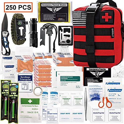 EVERLIT 250 Pieces Survival First Aid Kit IFAK Molle System