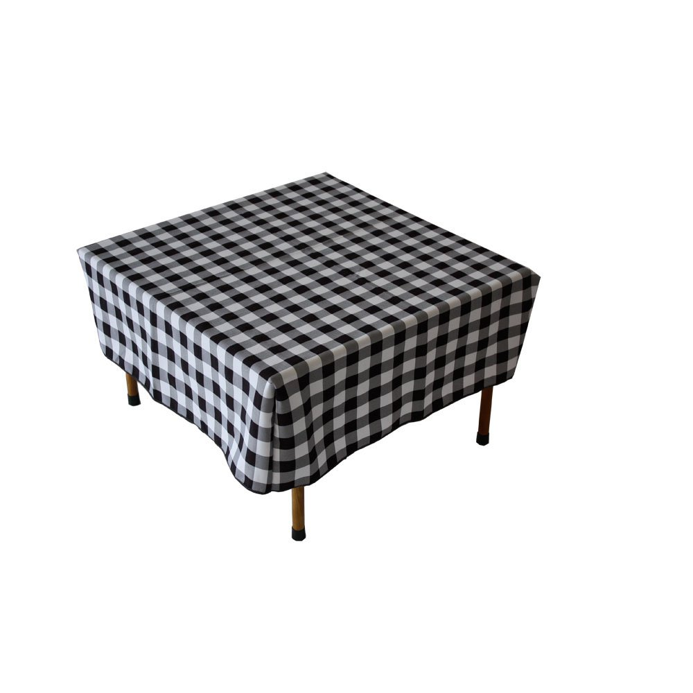 Table in a Bag TC2828BW Square Polyester Gingham Tablecloth, 28-inch by 28-inch, Black and White Checkered Pattern