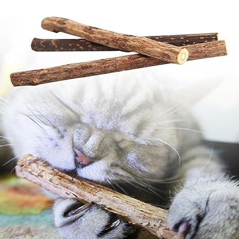 HYGMall 5 unids / set Stick dientes de gato Pet Matatabistic versión Cat Snacks Molar Rod