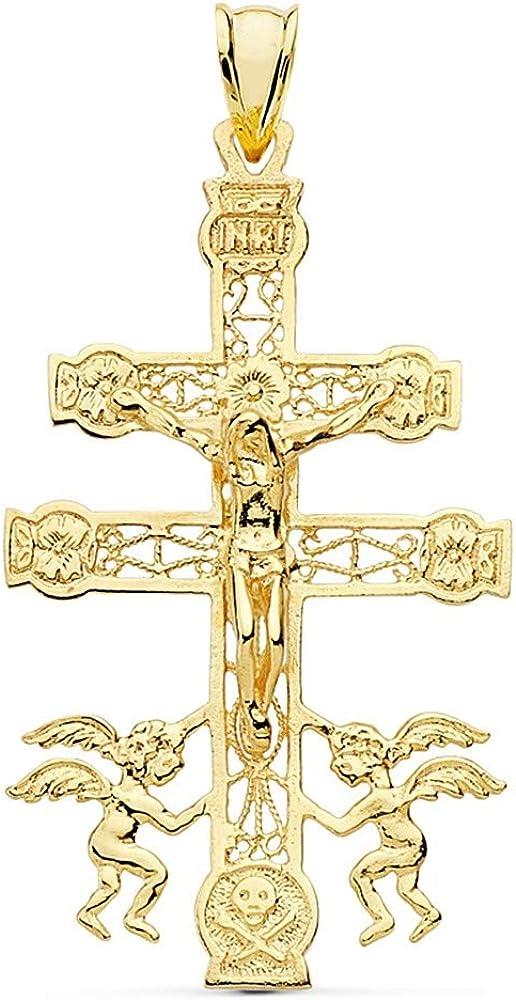 Cruz crucifijo oro 18k Caravaca 49mm. Cristo realce ángeles filigrana calada unisex