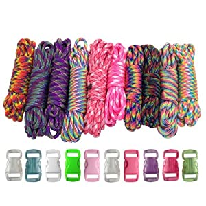 Paracord Planet 550lb Type III Paracord Combo Crafting Kits with Buckles (Tie Dye)