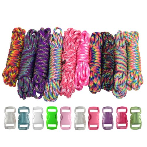 PARACORD PLANET 550lb Type III Paracord Combo Crafting Kits with Buckles for Friendship Bracelets and Craft Beginners (Tie Dye)