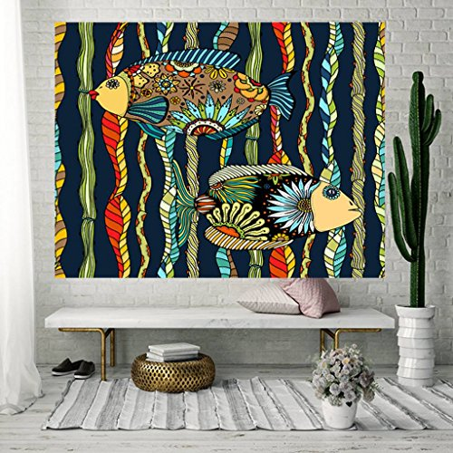 apestry Simple Art Abstract Flowers Painted Fish Stripes Print Bedroom Life Kids Girls Boys Room Dormitory Accessories Tapestry ()