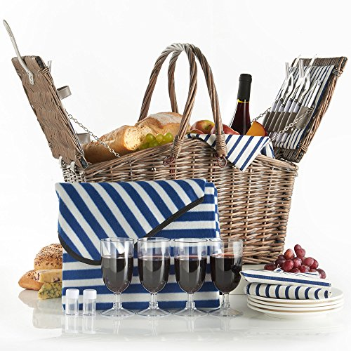 VonShef Deluxe 4 Person Folding Handle Picnic Basket Hamper with Cutlery, Plates, Glasses, Tableware & Fleece Blanket (And White Wicker Blue Baskets)