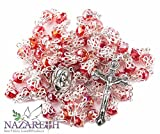 Catholic Red Rosary With Crystals Beads Holy Soil Medal and Jesus Crucifix