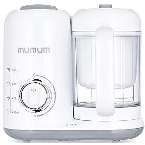 Mumum Baby Food Maker | Blender Grinder Steamer | Defrost, Steam, Cook & Blend with Built in Timer