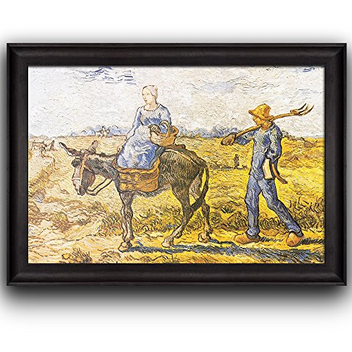 Morning: Peasant Couple Going Out to Work (After Millet) by Vincent Van Gogh Oil Painting Impressionist Artist Framed Art