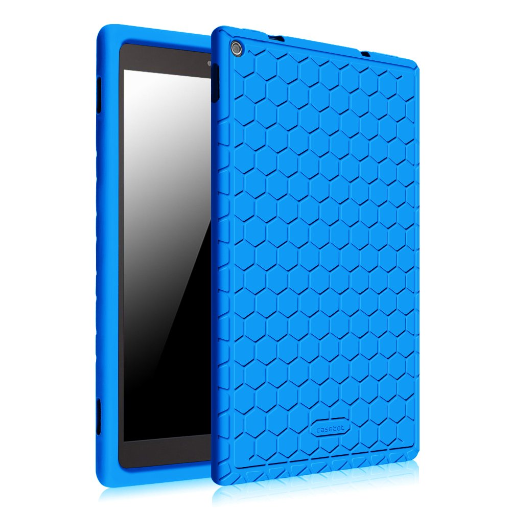 Fintie Silicone Case for Fire HD 10 (Previous 5th Generation - 2015 release ONLY) - [Honey Comb] Light Weight [Anti Slip] Shock Proof Kids Friendly Cover [NOT Fit All-New Fire HD 10 2017], Blue