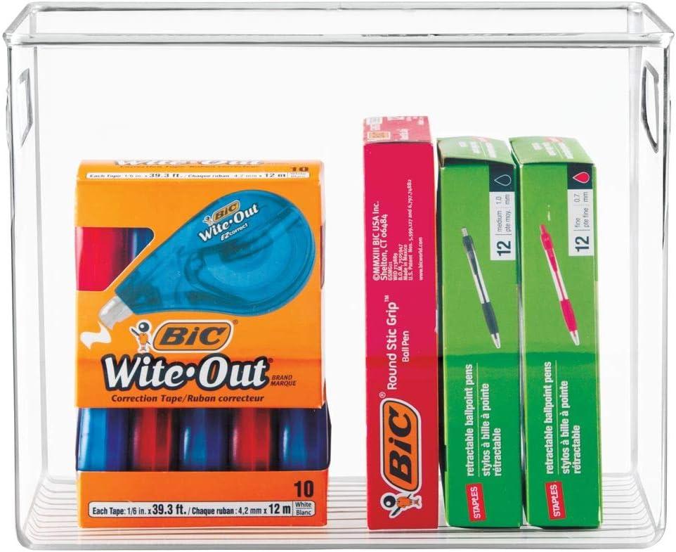 mDesign Set da 2 Box in plastica per il riordino di oggetti in cucina Portaoggetti in robusta plastica Pratico contenitore trasparente con manici integrati trasparente ufficio e bagno