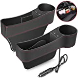 Electop Car Seat Gap Filler, Car Seat Gap Organizer Front Seat with Cup Holder/2 USB Ports, Premium PU Leather Console…