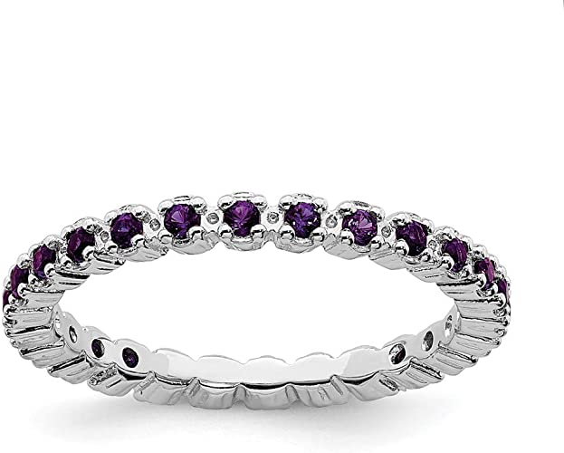 Mens Ring Purple AMETHYST GEMSTONE with DIAMOND Accents in Solid 925 Silver