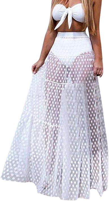 HOOUDO - Falda Larga para Mujer, Falda de Tul de Talla Alta y sin ...
