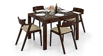Urban Ladder Vanalen Thomson 4 Seater Dining Table Set (Matte Finish, Beige)