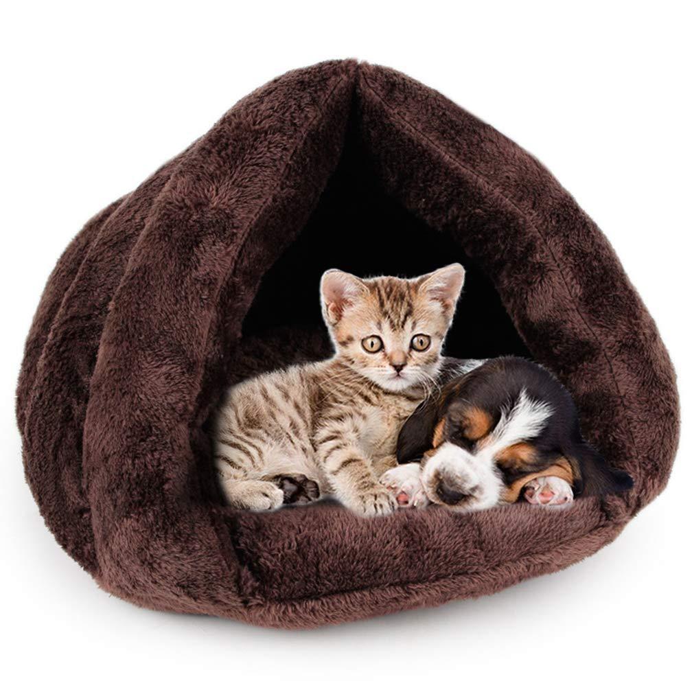 Brown BiBOSS Plush Cat Cave Cat Bag Soft Warm Cat Bed Condo Cat Sleeping Bag Cozy Cat House Pet Mats for Cat Kittens Puppy Rabbit Small Animals
