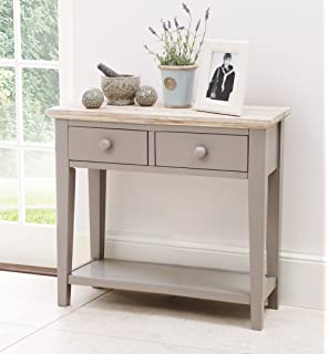 Florence Console Table With 2 Drawers And Shelf, Solid Dove Grey Console  Table, Hall