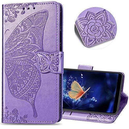Huawei P30 Lite Wallet case, COTDINFORCA Embossed Butterfly Pattern flip Card Set Cash Leather case, Advanced PU Body case for Huawei P30 Lite/Nova 4E. SD Flower Butterfly - Light Purple