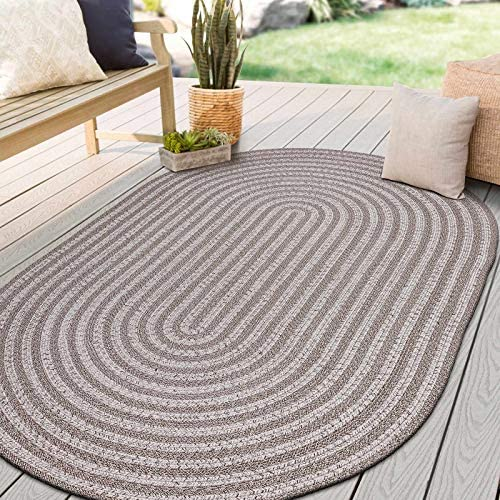 Decomall Azure Hand Braided Oval Outdoor Indoor Area Rugs, 6 x9 Oval