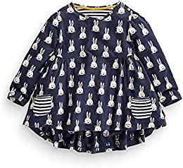 Girls Cotton Long Sleeve Dress Blue Cute Rabbit Print Tops  15Months-6 Years Old