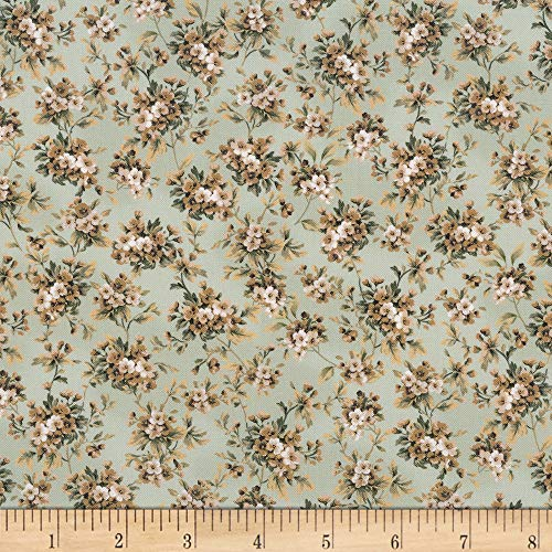 Kaufman Meredith Tiny Flowers Green Fabric by the Yard