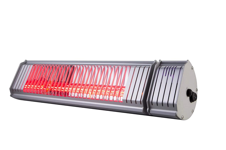 GREADEN - Calefactor de pared halógena Neptune 2000 W giratoria - Control por mando a distancia & smartphone - Lámpara de oro UlG - Radiador de patio ...