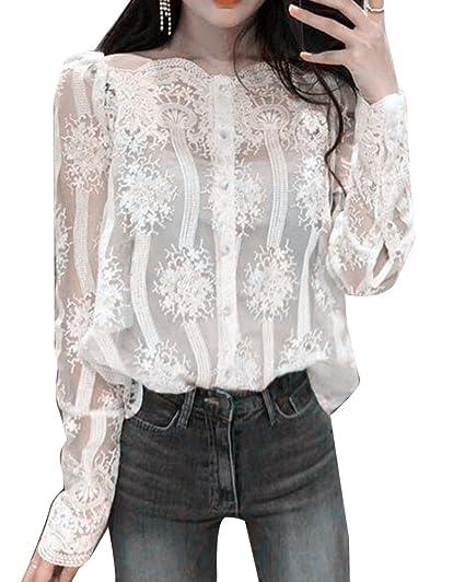Runyue Mujeres Blusas Camisetas Encaje Floral Camisa Blusas Tops De Manga Larga Fuera Del Hombro Blusas