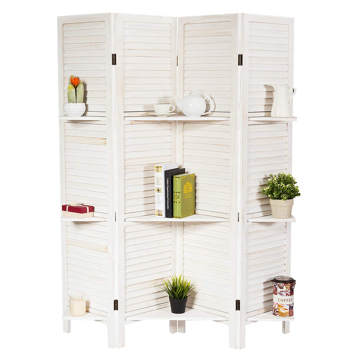 Giantex 4 Panel Folding Room Divider Screen w/ 3 Display Shelves, 5.6 Ft Tall Wood Oriental Freestanding Partition Privacy Room Divider w/Mounting Plate for Home, Office, Restaurant, Bedroom (White)
