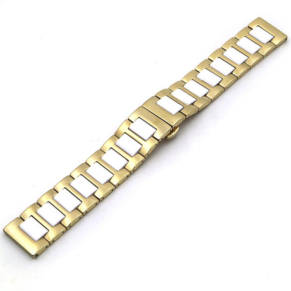 chezabbeyステンレススチールとセラミック腕時計バンド交換用Deployment Clasp時計ストラップ16 / 18 / 20 / 22 mm 22 MM White&Gold 22 MM White&Gold White&Gold 22 MM B0749DPHYR