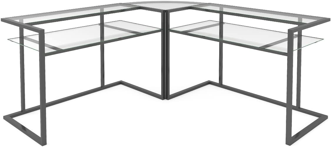 Ryan Rove Belmac Glass Large Modern L-Shaped Desk Corner