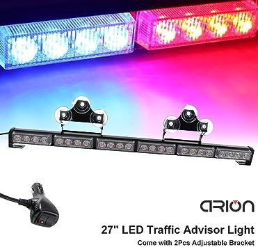 27inch 24 LED White Red Emergency Warning Light Bar Traffic Strobe Flashing Ligh