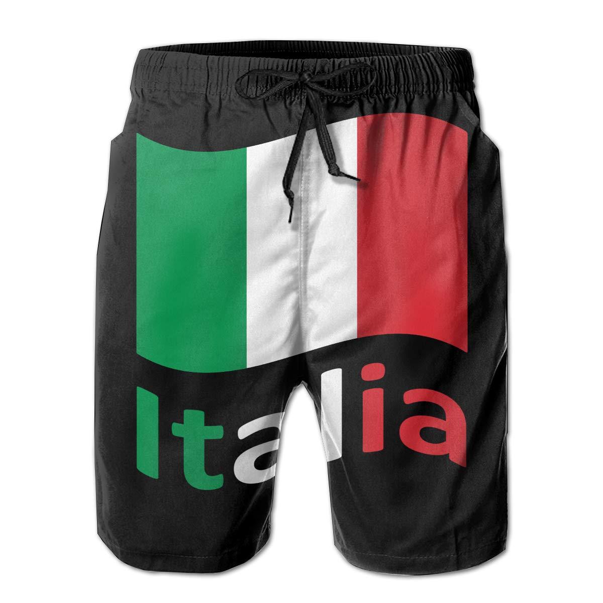 JF-X Italian Flag Mens Summer Beach Surf Board Shorts Quick Dry Swimming Trunks Casual Loose Sleep Short Pants