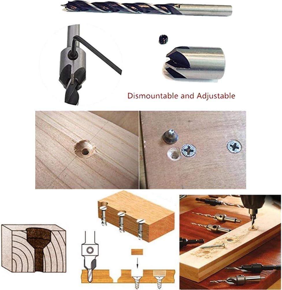 Holzbearbeitung Schraublochschneider 7-teiliges Kegelsenker Bohrer-Set mit Anschlagverschl/üssen und Schraubenschl/üssel f/ür Zimmermannsarbeiten