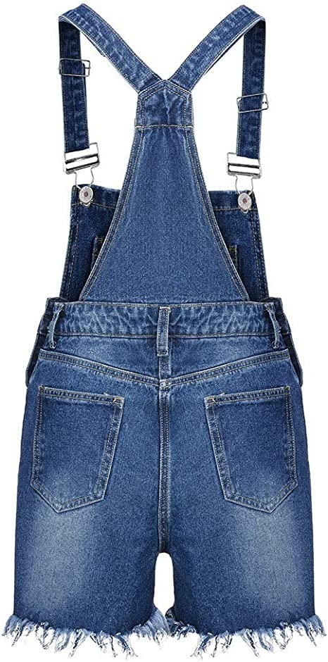 DEATU Sale Womens Jumpsuit Denim Jean Shorts Mid Rise Rompers Frayed Raw Hem Ripped Strap Overalls
