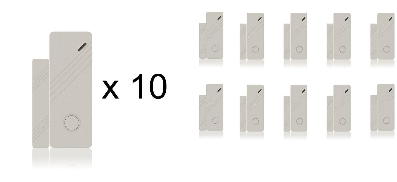 LKM Security Magnetische Türkontakt - Fensterkontakt Set ● 10 Stück ● Alarmanlage | GSM | Sensor | Funk | Drahtlos | Weiß