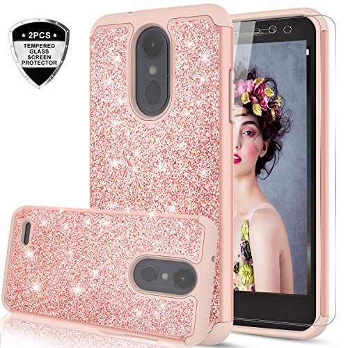 LG Aristo Case,LG Risio 2 Case,LG Phoenix 3 / Fortune/Rebel 2 LTE/ K8 2017 Case with Tempered Glass Screen Protector (2 Pack) for Girls Women,LeYi Glitter Protective Case for LG LV3 TP Rose Gold