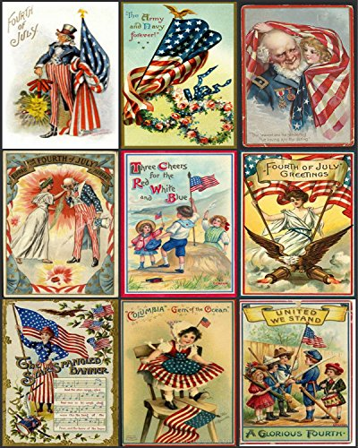 - 4th of July Vintage Patriotic Images Collage Sheet Collection Print for Scrapbooking, Card Making, Crafts