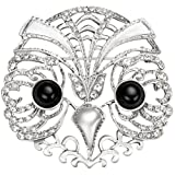 Rhinestone Owl Brooch Pin with Onyx Eyes-Antique Reproduction Costume Jewelry