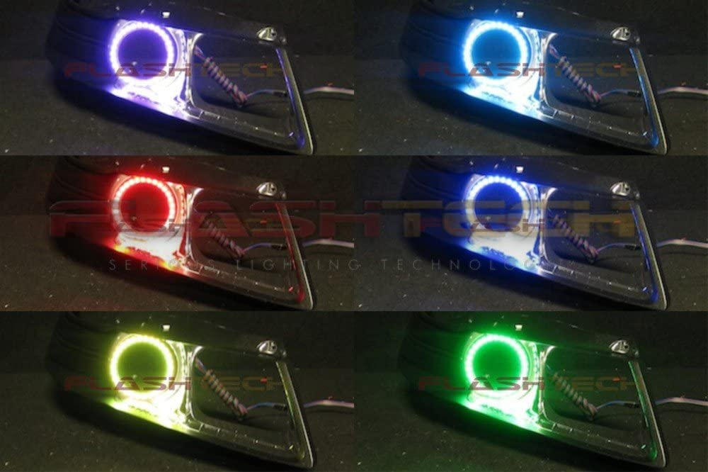 For 2005-2006 Acura RSX Color Changing LED Low Beam HeadlampS Pair Halo Ring