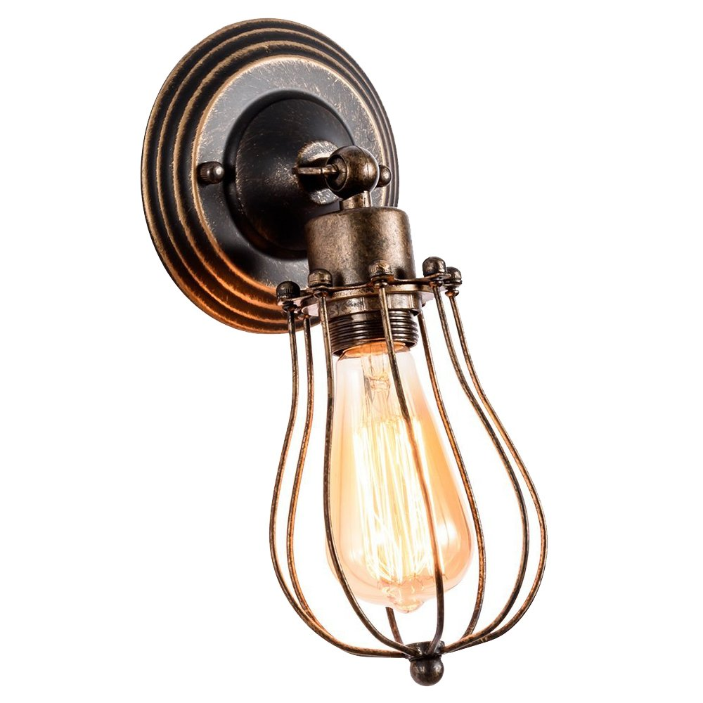 Gladfresit Vintage Wall Sconce Industrial Lighting, Adjustable Socket Rustic 1 Light, Wire Metal Cage Wall Lamp Indoor Home Retro Oil Rubbed Bronze Lights Fixture (one Wall Sconce)