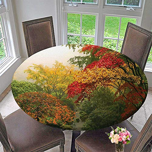 Mikihome Modern Simple Round Tablecloth Trees in The Fall at Portland Japanese Garden One Foggy Morning Scenery Red Decoration Washable 50