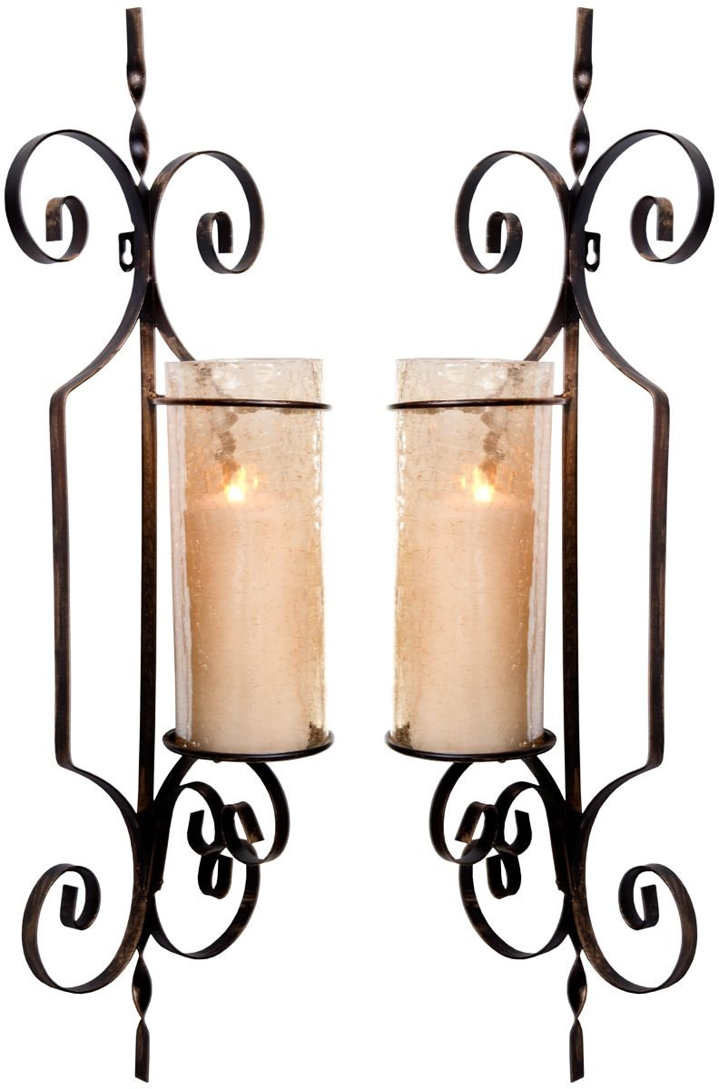 Le'raze Set of Two Decorative Wall Sconce Candle Holder Pair Elegant of Swirling Iron Hanging Wall Candle Holders Votives with Amber Finished Globes. Ideal Gifts & Decor for Home, Office, Spa.