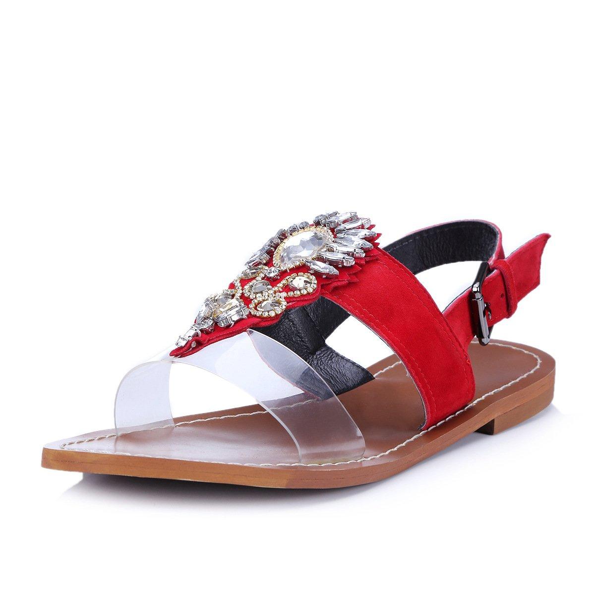 MEI&S Damen Sandalen Sandalen Sandalen flachem Absatz Schuhe ROT d00cad