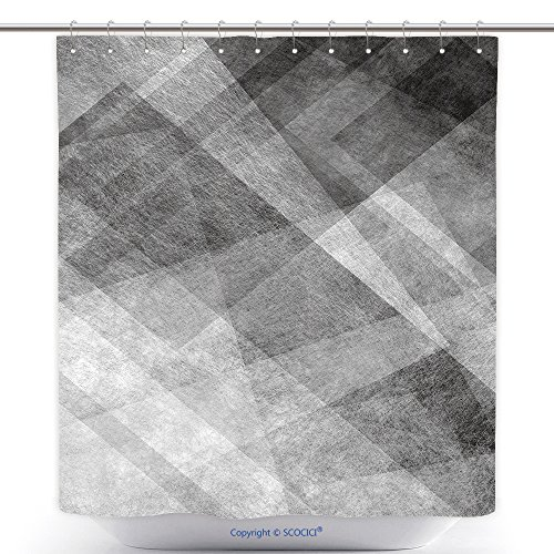Kmart Polyester Shower Curtain (vanfan-Cool Shower Curtains Abstract Black And White Background With Triangle Pattern Polyester Bathroom Shower Curtain Set With Hooks(36 x 72 inches))