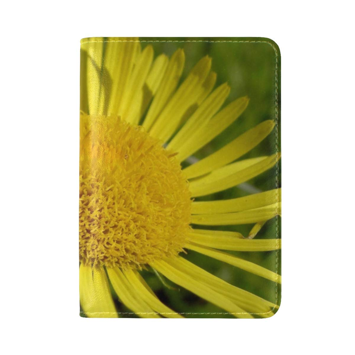 Petals Plant Flower Yellow Leather Passport Holder Cover Case Travel One Pocket