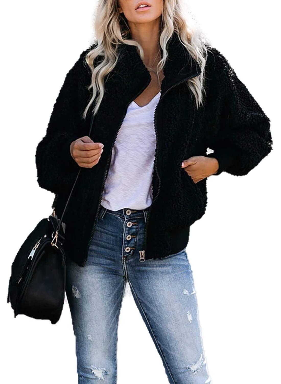 SIDEFEEL Women Long Sleeve Zip Up Fuzzy Coat Faux Sherpa Jacket Large Black by SIDEFEEL