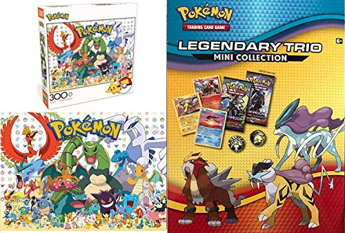 Pokemon Favorites Puzzle Fan Trio Mini Collection Card Legendary Booster Packs Bundled with + Fan Favorites - 300 Piece Jigsaw Puzzle 2 Items ()