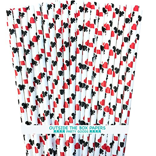 Casino Card Night Theme Paper Straws - Ace, Spade, Heart, Diamond Card Design - Black Red White - Pack of 100 - Outside The Box Papers -
