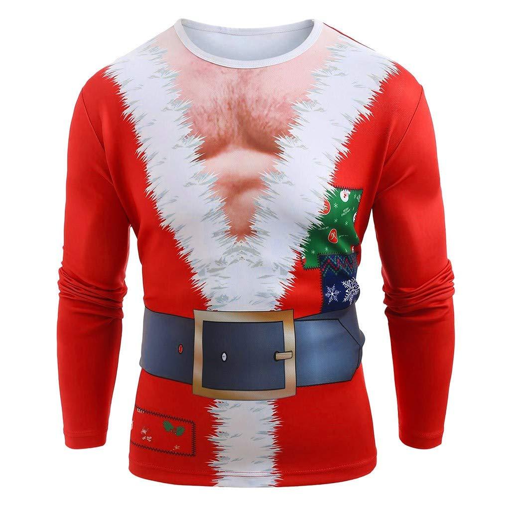 AMhomely Men Merry Christmas Funny Santa Muscle Print Long Sleeves T-Shirt Top Blouse Plus Size Men Outwear Sale UK Size S XXXXXXL