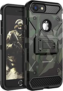 iPhone 8 Case,iPhone 7 Case,iPhone 6 Case,iPhone 6s Case HUATRK Boys Man Military Kickstand Three Layer Heavy Duty Shockproof Protective Camo Cover,Camouflage Green