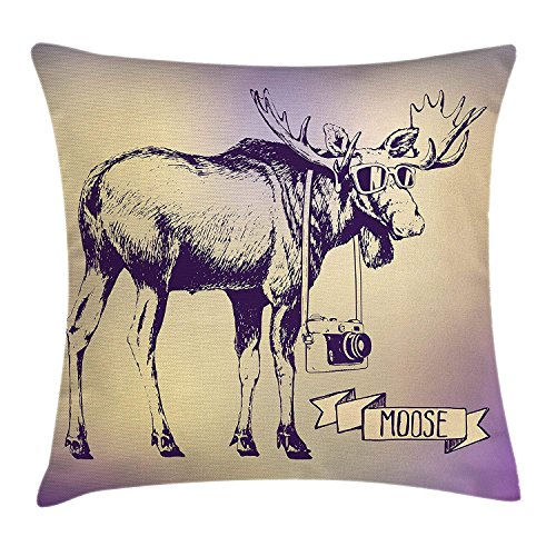 SPXUBZ Moose Hipster Deer With Shade Sunglasses And Camera Vintage Ombre Design Funny Animal Art Pillow Cover Decorative Home Decor Nice Gift Square Indoor Pillowcase Size: 20x20 Inch(Two Sides) ()